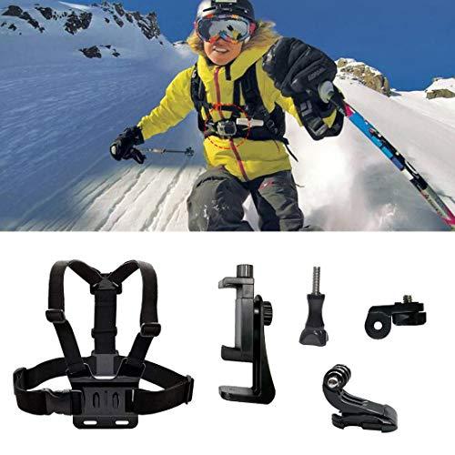 LIBRNTY Chest Mount with J Hook - Soporte de Pecho con Gancho J Arnés de Pecho Ajustable/Regalo + Soporte para teléfono móvil,Accesorios de esquí de Invierno