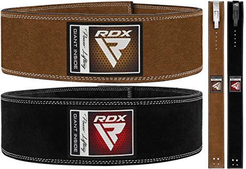 "RDX 4"" Cintura Palestra Sollevamento Pesi Powerlifting Pelle, 10mm Approvato da IPL USPA, 10 Regolabile Fori, Pesistica Leva Fibbia Belt per Bodybuilding Fitness Gym Allenamento Schiena Sostegno Uomo"
