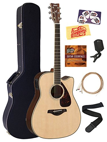Yamaha FGX830C Solid Top Folk Acoustic-Electric Guitar - Natural Bundle with Hard Case, Tuner, Strings, Strap, Picks, Austin Bazaar Instructional DVD, and Polishing Cloth