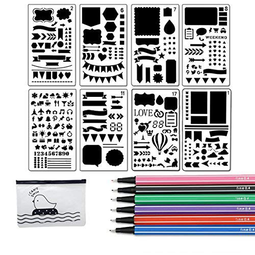 Bullet Journal Stencil Set 8 Pieces Plastic Planner Stencil Template 4x7 Inch for Journaling Notebook Scrapbook Christmas Gift Card and Art Projects with Fineliner Color Pen Set, Sirensky Brand