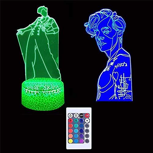 Harry & Styles - Lámpara de noche para niños con ilusión óptica 3D, 16 colores, regulable, con USB, control táctil con base de grietas, mando a distancia, para niños, niñas, regalos Harry & Styles