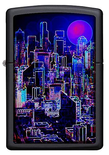 Zippo Cyberpunk Design, Black Matte – Benzin Sturm-Feuerzeug, nachfüllbar, in hochwer-tiger Geschenkbox, 60005348, normal