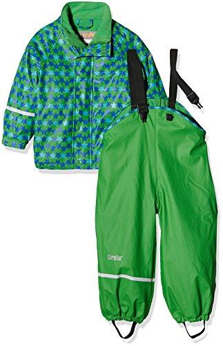 CareTec Kinder wasserdichte Regenlatzhose und -jacke im Set (verschiedene Farben), Grün (Grün 974), 128
