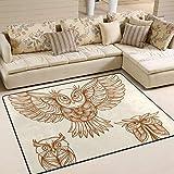 FAJRO Handgezeichnete Eulen-Teppiche für Eingangsbereich, Fußmatte, Teppich, Mehrmuster-Fußmatte, Schuhe, Schaber, Home Dec, rutschfest, für drinnen und draußen, Polyester, 1, 63 x 48 inch - 2