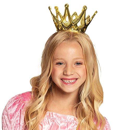 Boland 61591 - Krone Amy, 1 Stück, Größe ca. 9 cm, Gold mit Gummiband, aus glänzendem Kunststoff, Klettverschluss, Prinzessin, Prinz, Königin, König, Accessoire, Verkleidung, Karneval, Kostüm, Märchen