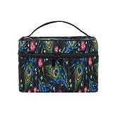 HaJie - Bolsa de maquillaje de gran capacidad, organizador de flores y plumas de pavo real para viaje, portátil, neceser, bolsa de almacenamiento, bolsa de lavado para mujeres y niñas
