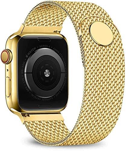 ZLRFCOK Correa de lazo para Apple Watch de 40 mm, 44 mm, 38 mm, 42 mm, brazalete de acero inoxidable para iWatch Series 5, 4, 3, 38, 42, 44 mm (color de la correa: oro, ancho de la correa: 38 o 40 mm)