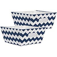2-Pack DII Fabric Trapezoid Storage Containers (Chevron Nautical Blue)
