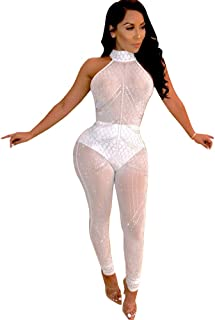 Womens Sleeveless Rhinestone Bodycon Jumpsuit Sexy Club Outfits See Through Mesh Bodysuit Rompers