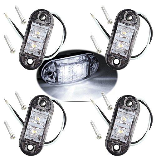 Fushengda - 4 luces LED laterales ovaladas IP65 12 V/24 V para luces delanteras traseras, indicador universal de posición para camión, remolque, furgoneta, caravana, camioneta, coches, barcos