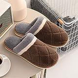 B/H Espuma de Cómodas Suave Zapatillas Casa,Zapatillas de algodón cálido de Invierno, Zapatillas de Piel Antideslizantes de Interior-café_41-42,Nvierno Hombre Pantuflas