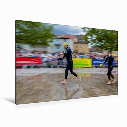 Calvendo Premium Textil-Leinwand 120 cm x 80 cm quer, EIN Motiv aus dem Kalender Passion Triathlon   Wandbild, Bild auf Keilrahmen, Fertigbild auf echter Leinwand, Leinwanddruck Sport Sport