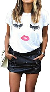 SHOWNO Women's Slim Short-Sleeve Plus Size Round Neck Lip Print Top T-Shirt Blouse