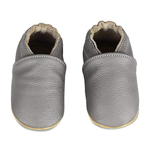 IceUnicorn Weiche Leder Babyschuhe Lauflernschuhe Krabbelschuhe Babyhausschuhe mit Wildledersohlen für Junge Mädchen Kleinkind(Dunkel Grau,12-18)