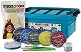Snazaroo - Maleta, 6 colores y gel brillo con 3 pinceles, 2 esponjas y libro de maquillaje