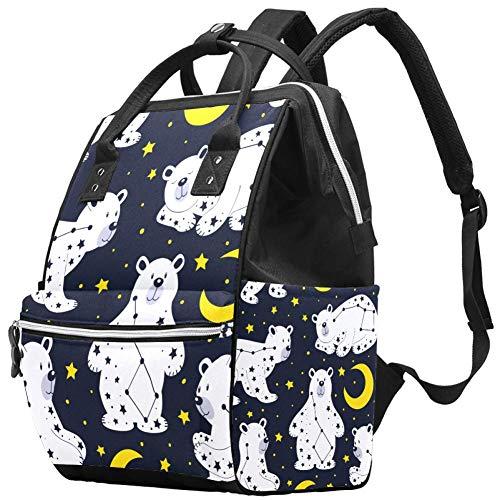 Multifunktions-Wickeltaschen-Rucksack, weißer Bär und Sternbild Ursa Major Muster Windeltasche Reiserucksack für Mama und Papa