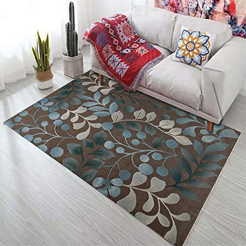 RUGYUW Alfombra Pelo Diseño de patrón de Hoja marrón Azul Gris,Moderno Decorativa Lavable Peluda Antideslizante Yoga Alfombra (1'12''X2'11''ft)