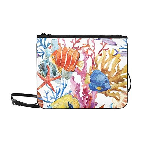 JEOLVP Fisch-Ozean-Wasser-Farbmuster-Tapeten-Muster-kundenspezifischer hochwertiger Nylon-dünne Handtasche Kreuzkörperbeutel-Schulter-Beutel