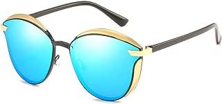 Fashion Beach Outdoor Traveling Cycling Fishing Sunglasses UV400 UV Polarized Ultra-Thin Frame Gold Men's/Women's Driving Blackout Retro Sunglasses Retro (Color : Blue)