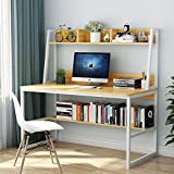 Tribesigns Computer Desk with Hutch and Bookshelf, 47 Inches Home Office Desk with Space Saving Design for Small Spaces(Light Walnut)