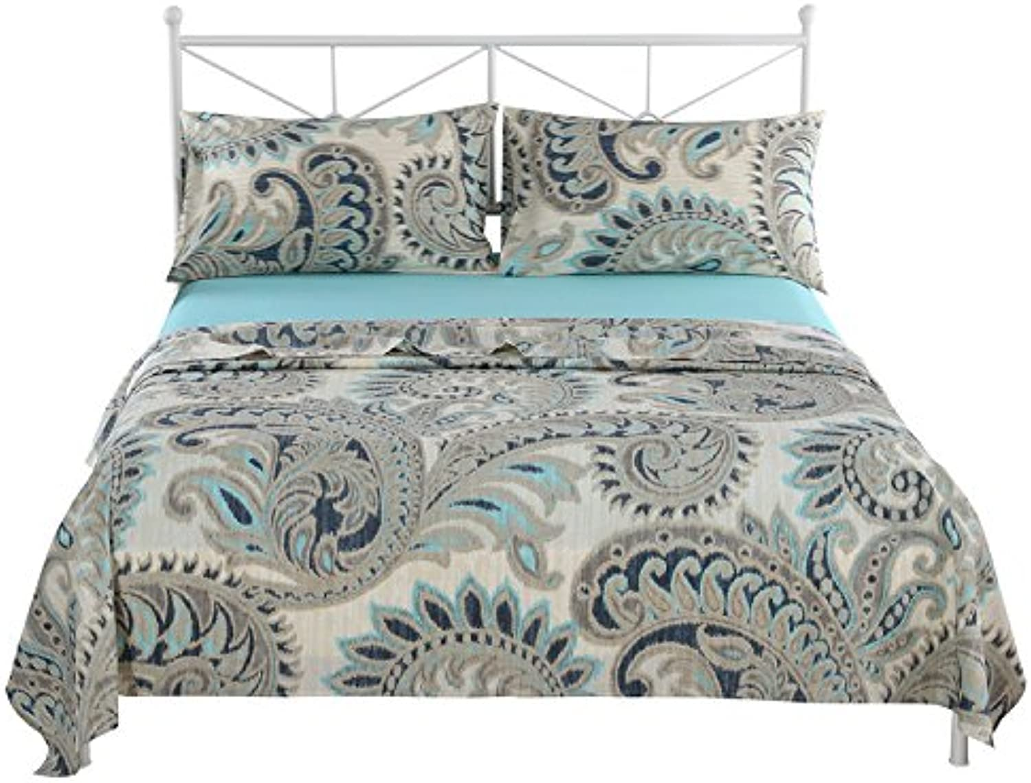 SINOLINK HOME 100% Cotton Premium Quality Printed Bedding Sheet Set Paisley Light bluee 4 Piece Set Including 1 Flat Sheet+1 Fitted Sheet +2 Pillow Cases - Full Size