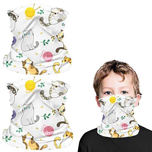 2 Pcs Kids Reusable Christmas Face Masks, 10 Pcs Filters, Full-Coverage Tube Face Mask Bandanas, Keep Warm and Windproof Neck Gaiter Headband, Face Scarf Mask Boy Girl (Cat)