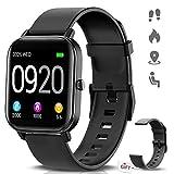 NAIXUES Smartwatch, Reloj Inteligente Impermeable IP67 Reloj Deportivo 1.4' Pantalla Táctil Completa con Pulsómetro, Monitor de Sueño, Podómetro, Notificaciones para Mujer Hombre (Negro)