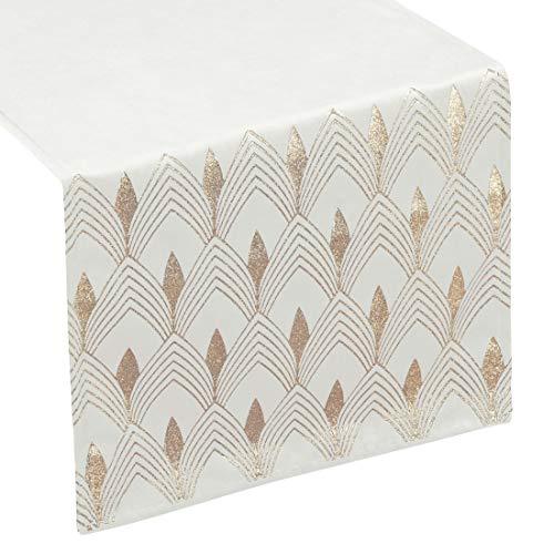 Eurofirany tafelkleed, tafelloper, fluweel, geometrisch patroon, tafeldecoratie, tafelkleed, tafelloper, tafelkleed, fluweel, elegant, 1 stuks, beige, 40 x 140 cm
