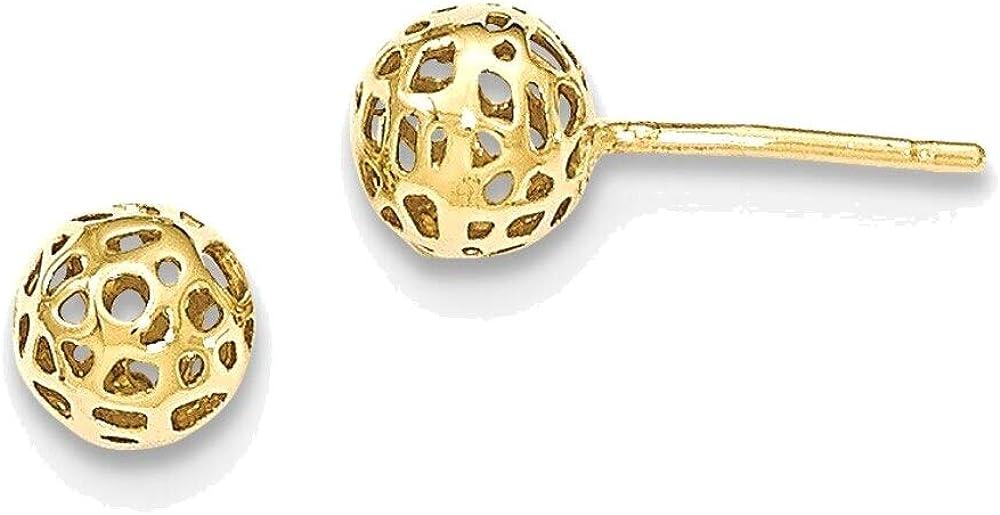 14K Yellow Gold Fancy Ball Post Earrings