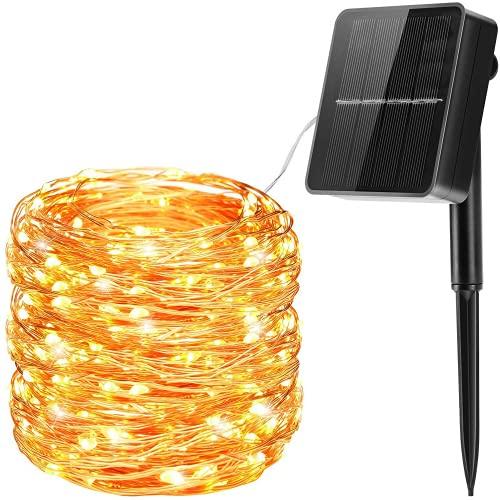 Guirnaldas Luces Exterior Solar,20M 200 LED Cadena de Luces Solares Guirnaldas Luminosas Solar Impermeable Decoración para Navidad, Fiestas, Bodas, Jardines(Blanco Cálido)