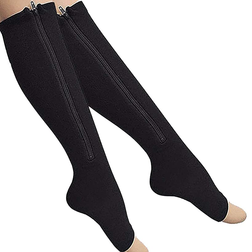 2-Pack Zipper Compression Socks for Men/Women with Open Toe, Knee High 20-30mmHg Compression Support Hose (Black, XXL)