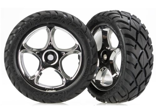 "Traxxas 2479R Anaconda Tires Pre-Glued on 2.2"" Chrome Tracer Wheels (pair)"