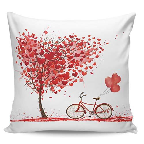 Scrummy Fundas de almohada de 45,72 x 45,72 cm, diseño de árbol de amor con globos para bicicleta, funda de cojín cuadrada para decoración del hogar