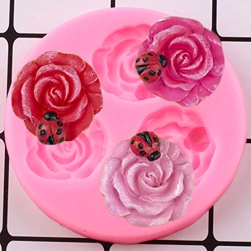 CSCZL Rose Flower Silicone Molds Insect Ladybug Cupcake Topper Fondant Mold DIY Cake Decorating Tools Resin Candy Chocolate Mould