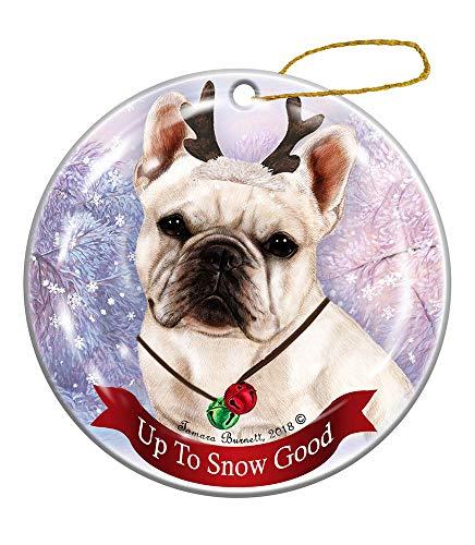 Holiday Pet Gifts White French Bulldog Dog Porcelain Christmas Ornament