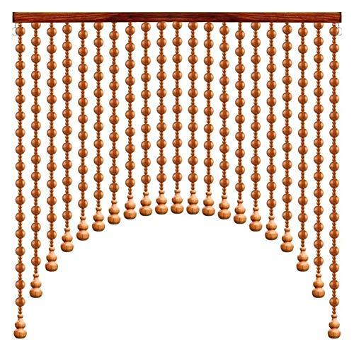 DSDD Cortina de Cuentas Cortinas de Hilo de Puerta de Cuentas de Madera para el Paso del Armario de la Entrada/decoración de la Ventana del Divisor de habitación, Retro, Ancho 60-140CM (Color: