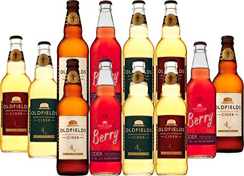 Hobsons Oldfields Premium English Mixed Cider Selection Pack - Case of 12 x 500ml Bottles - Including Berry Fruit Cider - Gluten Free