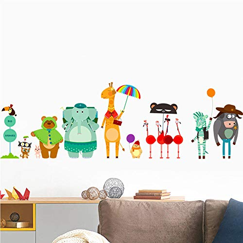 Cute Cartoon Animal Wall Stickers Colored Elephant Bear Zebra Wall Decals for Kids Rooms Bedroom Living Room Home Decor