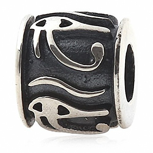 Hoobeads Eye of Horus Egyptian Symbol of Protection, Royal Power and Good Health 925 Sterling Silver Bead Fits Pandora Chamilia Biagi Troll Charms Europen Style Bracelets by Antique Silver Beads