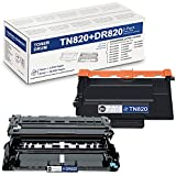 High Yield 1 Pack Black TN820 TN-820 Toner & 1 Pack Black DR820 DR-820 Drum Compatible Replacement for Brother DCP-L5600DN DCP-L5650DN MFC-L6700DW MFC-L6750DW MFC-L5700DW MFC-L5800DW Printer
