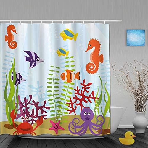 Duschvorhang,Aquariumfreundliche Meerestiere Tropical Aquatic Habitat Collection Seepferdchenkrabbe Octopus multicolor,Bad Vorhang Waschbar Bad Vorhang Polyester Stoff mit 12 Kunststoffhaken 180x210cm