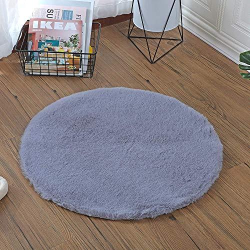 HEQUN Weicher Kunstkaninchenfell-Teppich|Kurzfell-Teppich Kunstfell Hasenfell Imitat | Lammfell-Teppich | Kunstfell Schaffell Imitat | Faux Bett-Vorleger oder Matte für Stuhl Sofa (Grau, 45x 45 cm)