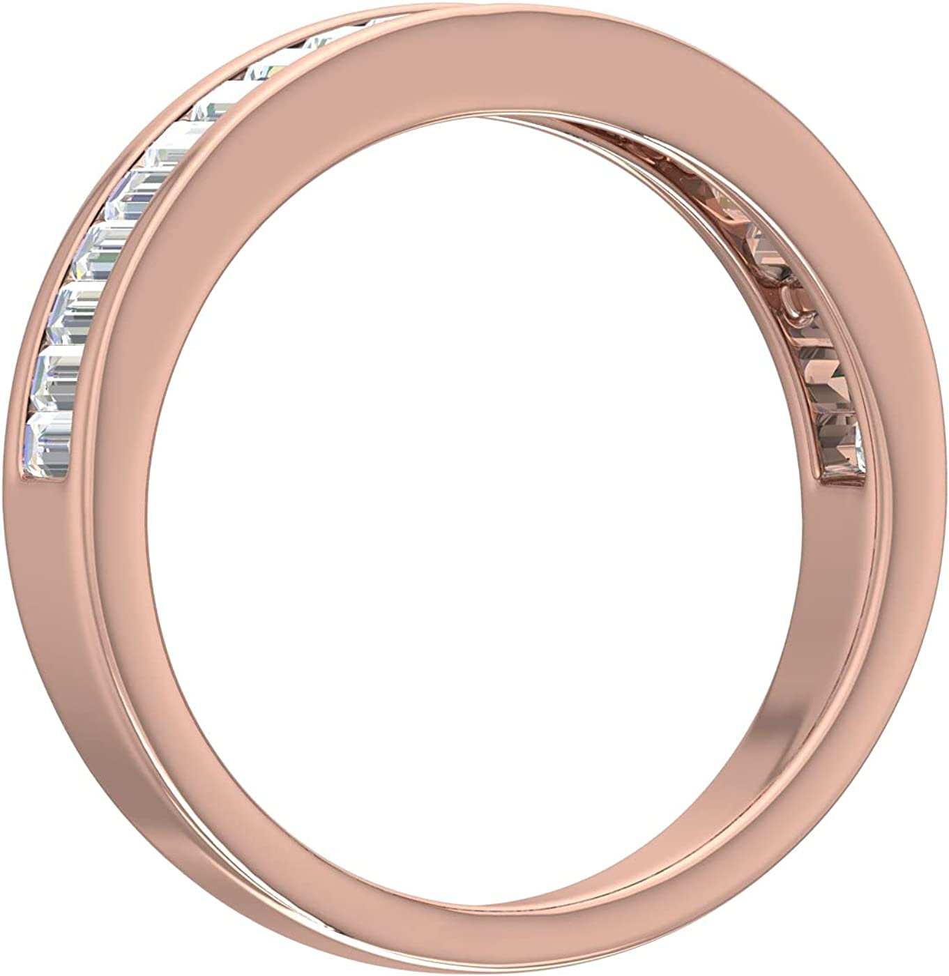 0.55 Carat Channel Set Baguette Shape Diamond Wedding Band Ring in 14K Gold