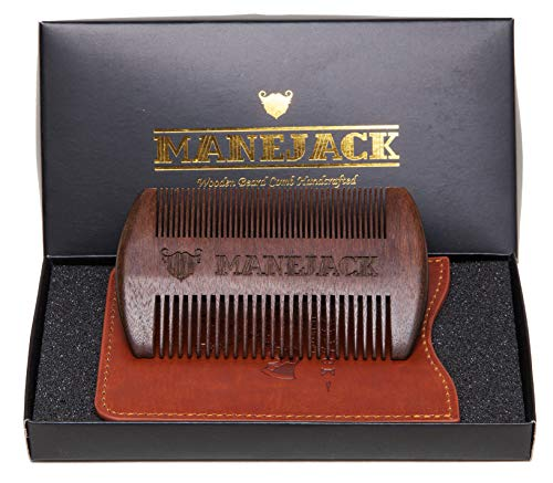 Wooden Beard Comb with PU Leather Case - Top Pocket Combs Kit for Men - Perfect for Beard, Head hair, Mustache-Dry Use with Balms and Oils - Fine and Coarse Teeth