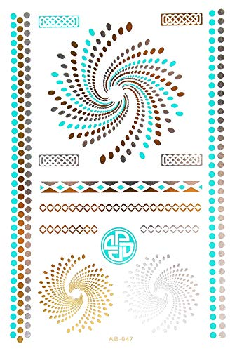 Oh My Shop - TAB47 - Planche Tattoo Tatouage Ephémère Body Art Spirales - Argent/Or/Bleu-Vert