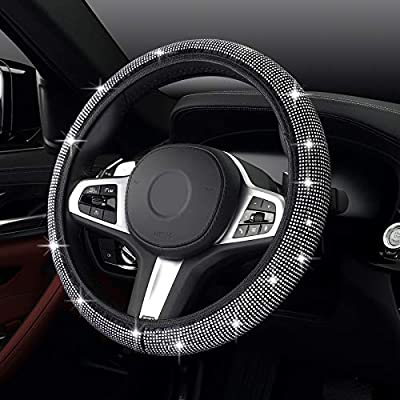 Fimker White Diamond Steering Wheel Covers for Women Grils Soft Bling Bling Rhinestone Crystal Steering Accessories Universal 14-14.8 inches Sparkly Crystal Steering Protector