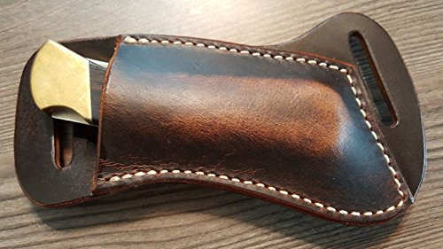 Custom Made to Hold a Buck 110 Cross Draw Buffalo Leather Knife Sheath Dark Oil Rustic Finish