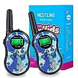 Nestling Walkie Talkie Niños, Camuflaje al Aire Libre 8 Canales LCD Pantalla Linterna Incorporado VOX, Rango de 3KM, 10 Tonos de Llamada Walkie Talkie Niñas Juguete Regalo (2pcs Azul)