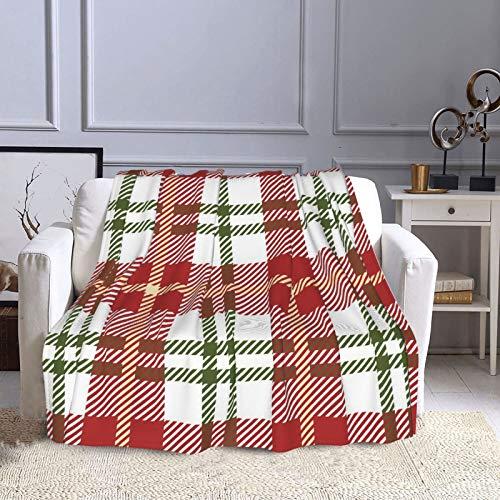 KCOUU Couverture polaire 127 × 152 cm à rayures plaid douillet et chaude pour canapé, lit, canapé, voyage, maison, bureau toutes saisons