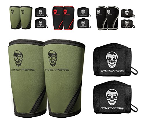 Gymreapers Elbow Sleeves (1 Pair) W/Bonus Wrist Wraps - Support & Compression for Powerlifting, Weightlifting, Bench & Tendonitis 5mm Neoprene Sleeve - for Men & Women - 1 Year Warranty (X-Large)
